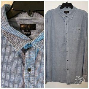 3X Men's Button Down Long Sleeve Shirt